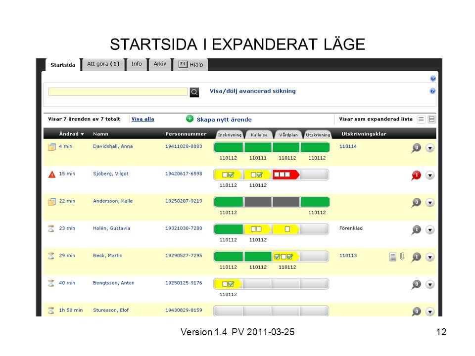Version 1.4 PV 2011-03-2512 STARTSIDA I EXPANDERAT LÄGE