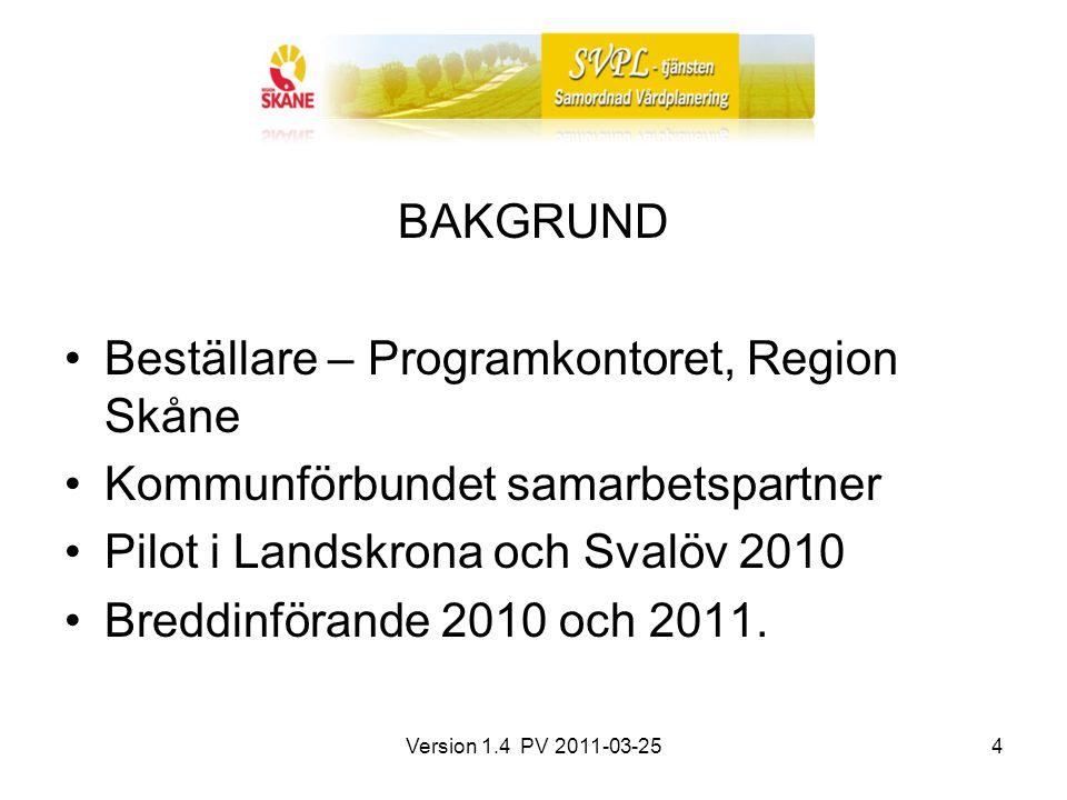 Version 1.4 PV 2011-03-254 BAKGRUND Beställare – Programkontoret, Region Skåne Kommunförbundet samarbetspartner Pilot i Landskrona och Svalöv 2010 Breddinförande 2010 och 2011.