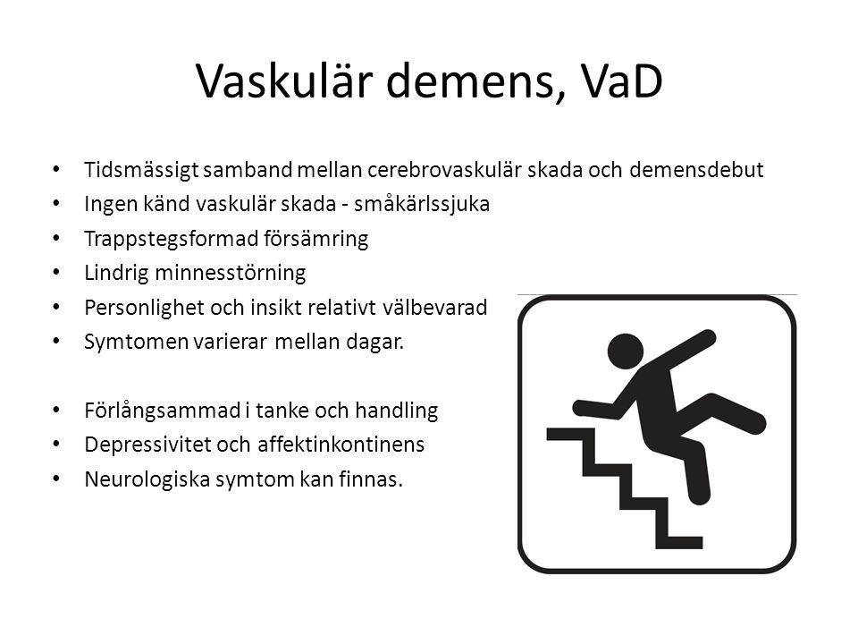 Vaskulär demens, VaD Tidsmässigt samband mellan cerebrovaskulär skada och demensdebut Ingen känd vaskulär skada - småkärlssjuka Trappstegsformad försä