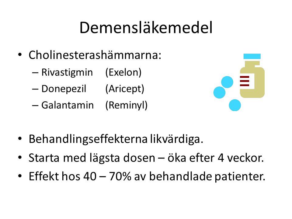 Demensläkemedel Cholinesterashämmarna: – Rivastigmin (Exelon) – Donepezil (Aricept) – Galantamin (Reminyl) Behandlingseffekterna likvärdiga. Starta me
