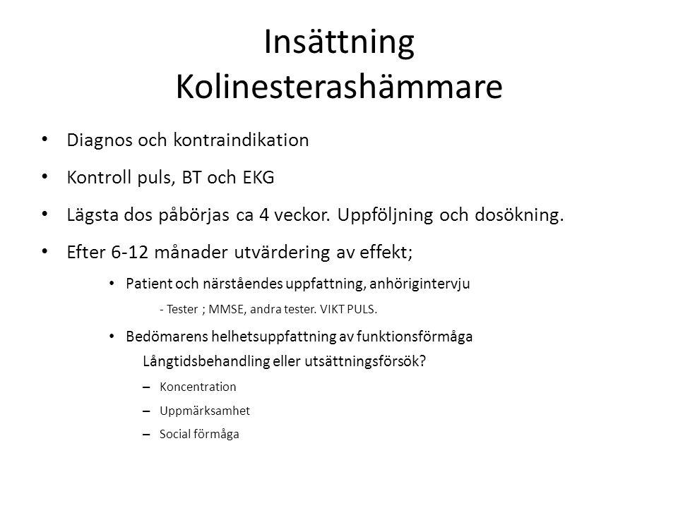 Insättning Kolinesterashämmare Diagnos och kontraindikation Kontroll puls, BT och EKG Lägsta dos påbörjas ca 4 veckor. Uppföljning och dosökning. Efte