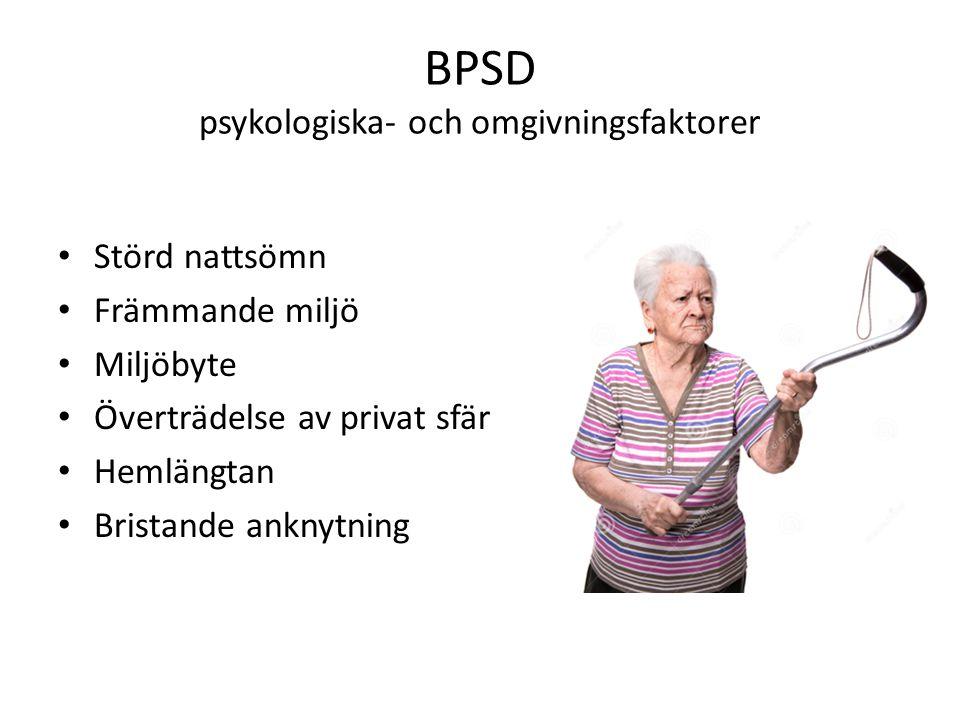 BPSD psykologiska- och omgivningsfaktorer Störd nattsömn Främmande miljö Miljöbyte Överträdelse av privat sfär Hemlängtan Bristande anknytning