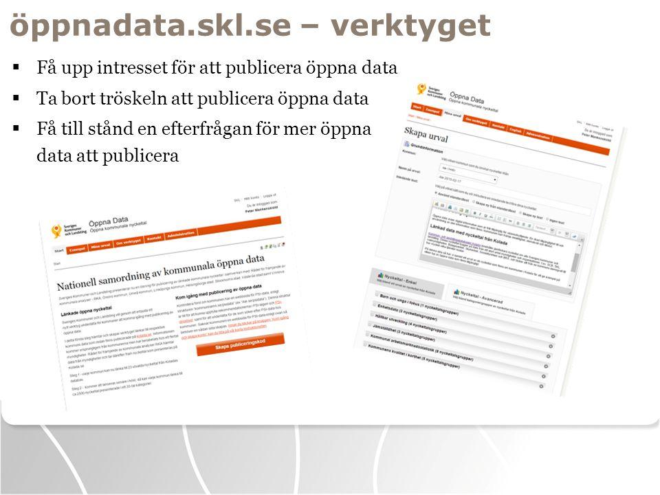 öppnadata.skl.se – verktyget  Få upp intresset för att publicera öppna data  Ta bort tröskeln att publicera öppna data  Få till stånd en efterfrågan för mer öppna data att publicera