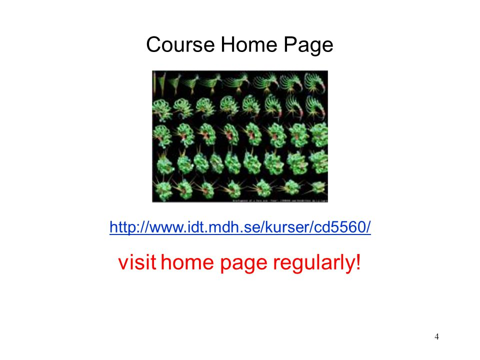4 http://www.idt.mdh.se/kurser/cd5560/ visit home page regularly! Course Home Page