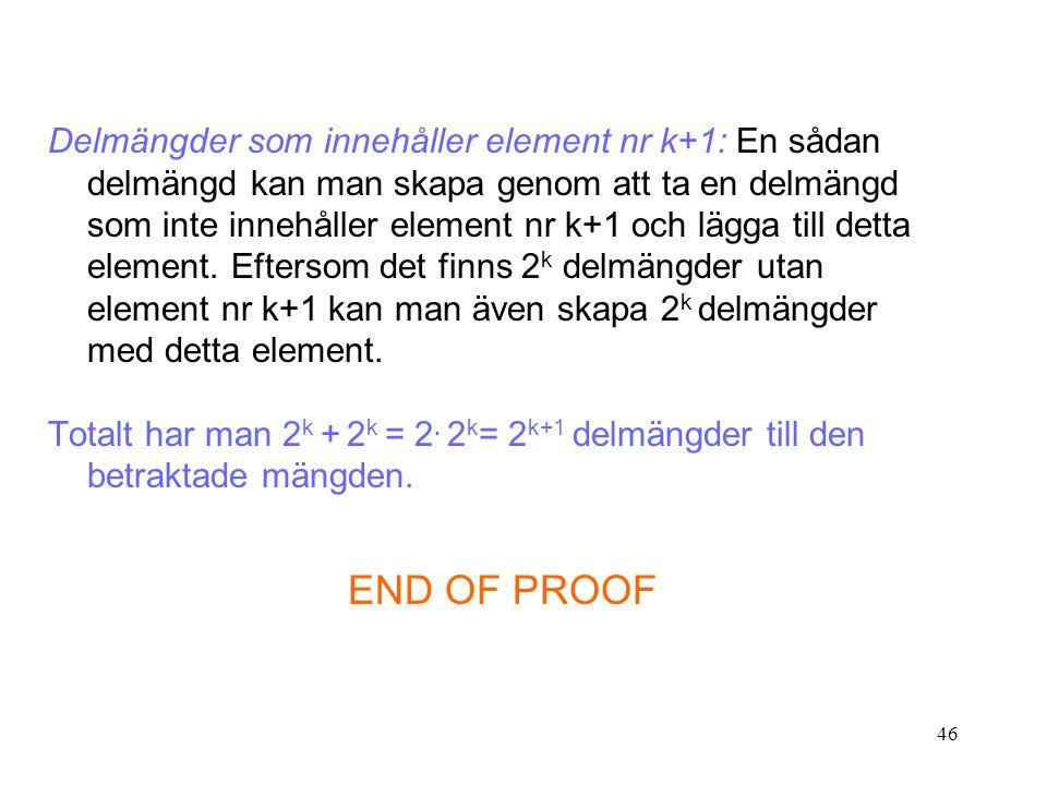 46 Delmängder som innehåller element nr k+1: En sådan delmängd kan man skapa genom att ta en delmängd som inte innehåller element nr k+1 och lägga til