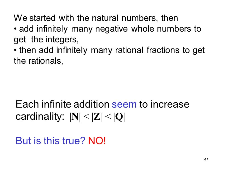 53 We started with the natural numbers, then add infinitely many negative whole numbers to get the integers, then add infinitely many rational fractions to get the rationals, Each infinite addition seem to increase cardinality: |N| < |Z| < |Q| But is this true.