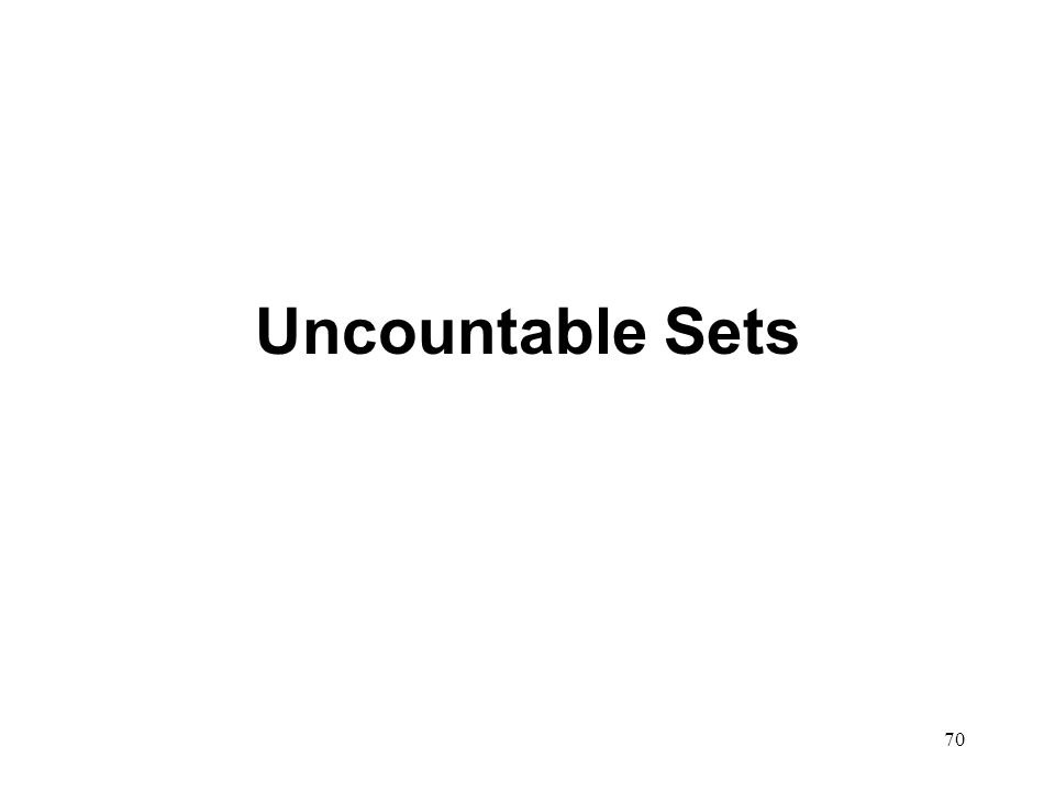 70 Uncountable Sets