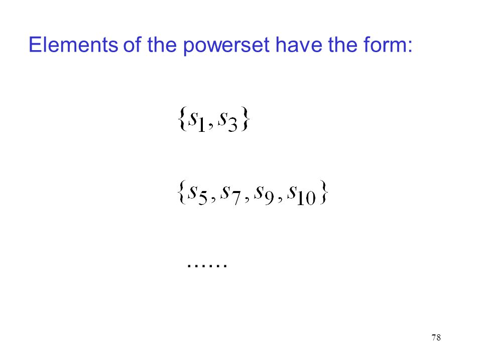 78 Elements of the powerset have the form: ……