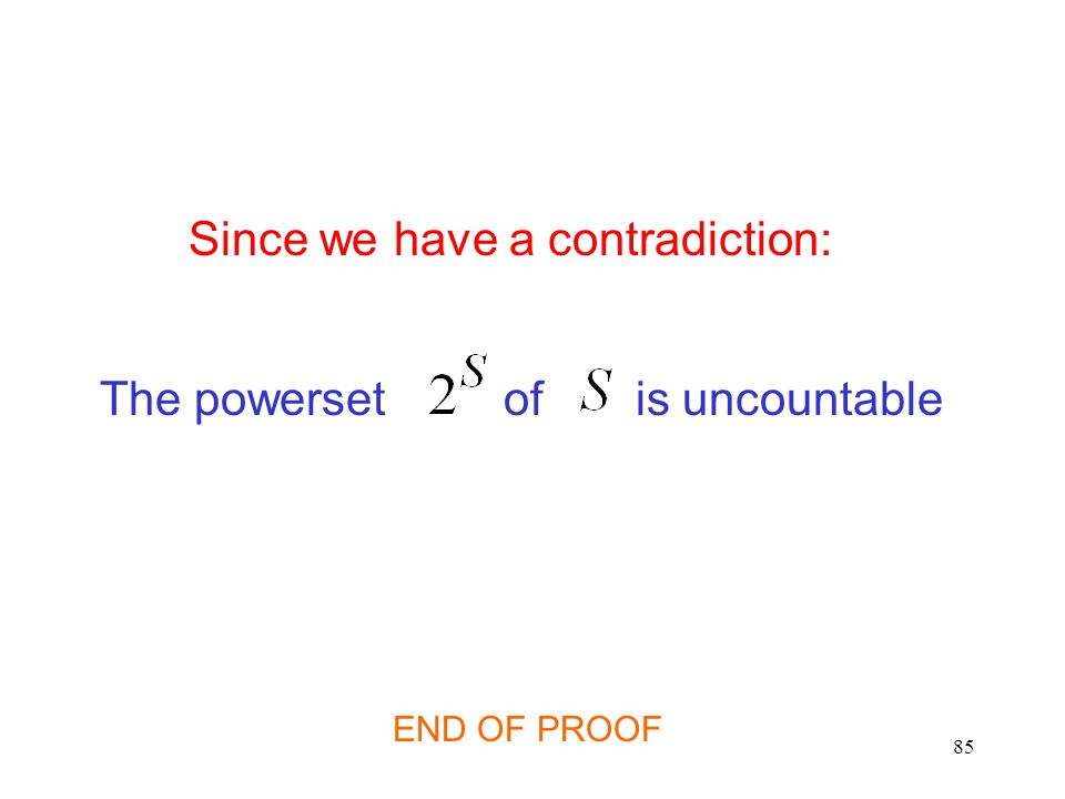 85 Since we have a contradiction: The powerset of is uncountable END OF PROOF