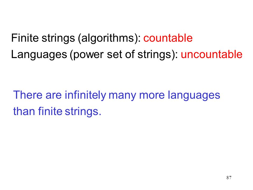 87 Finite strings (algorithms): countable Languages (power set of strings): uncountable There are infinitely many more languages than finite strings.