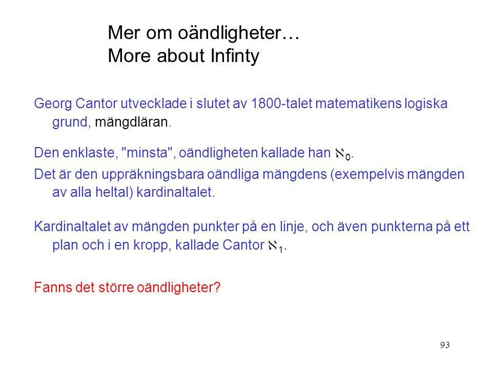 93 Georg Cantor utvecklade i slutet av 1800-talet matematikens logiska grund, mängdläran. Den enklaste,