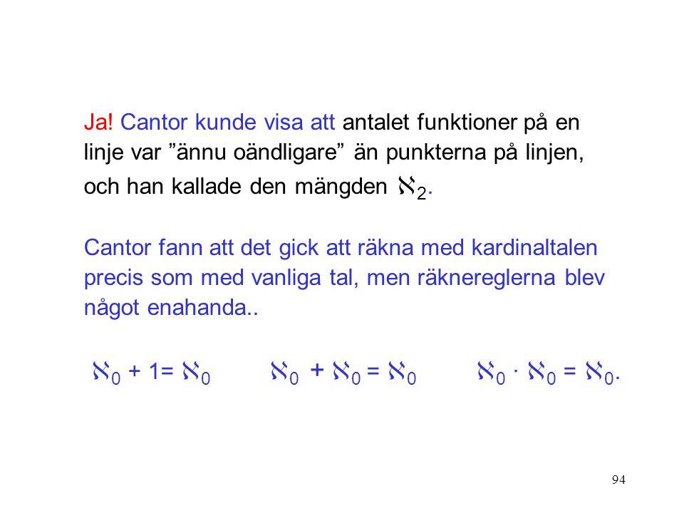 """94 Ja! Cantor kunde visa att antalet funktioner på en linje var """"ännu oändligare"""" än punkterna på linjen, och han kallade den mängden  2. Cantor fann"""