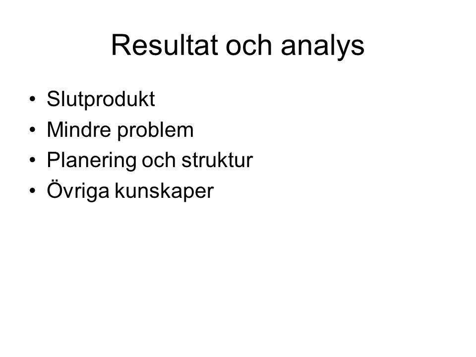 Resultat och analys Slutprodukt Mindre problem Planering och struktur Övriga kunskaper