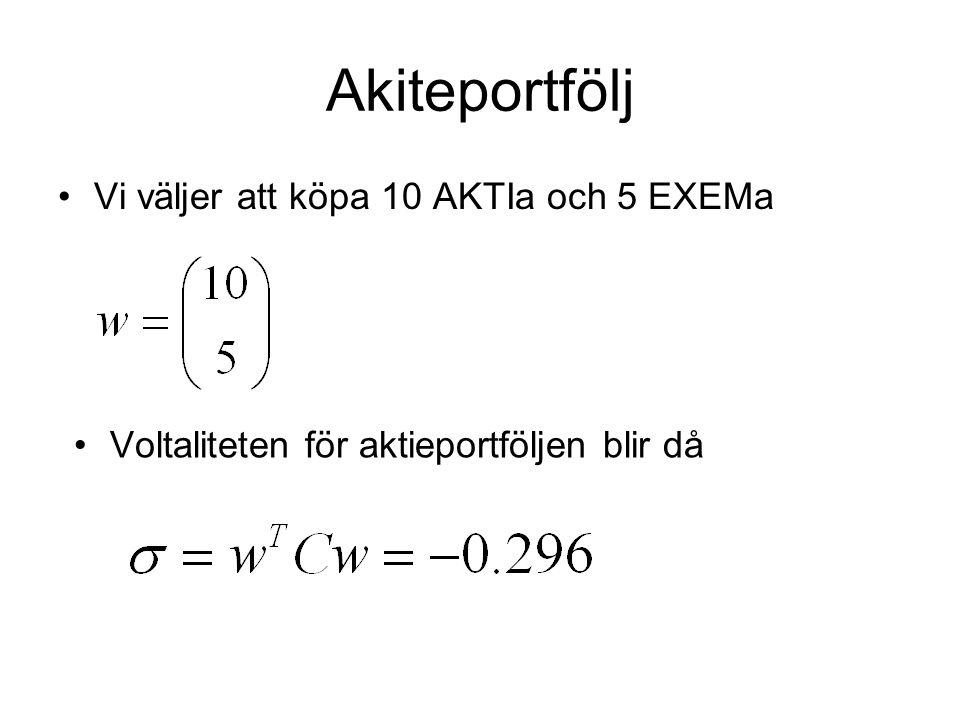 Akiteportfölj Vi väljer att köpa 10 AKTIa och 5 EXEMa Voltaliteten för aktieportföljen blir då
