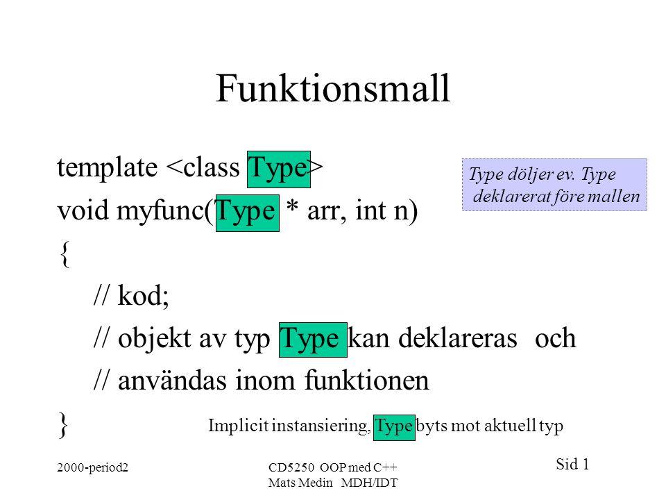 Sid 1 2000-period2CD5250 OOP med C++ Mats Medin MDH/IDT Funktionsmall template void myfunc(Type * arr, int n) { // kod; // objekt av typ Type kan deklareras och // användas inom funktionen } Implicit instansiering, Type byts mot aktuell typ Type döljer ev.