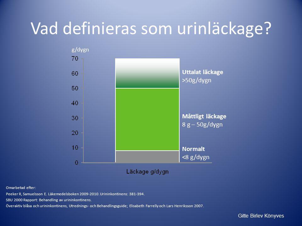 Gitte Birlev Könyves Vad definieras som urinläckage.