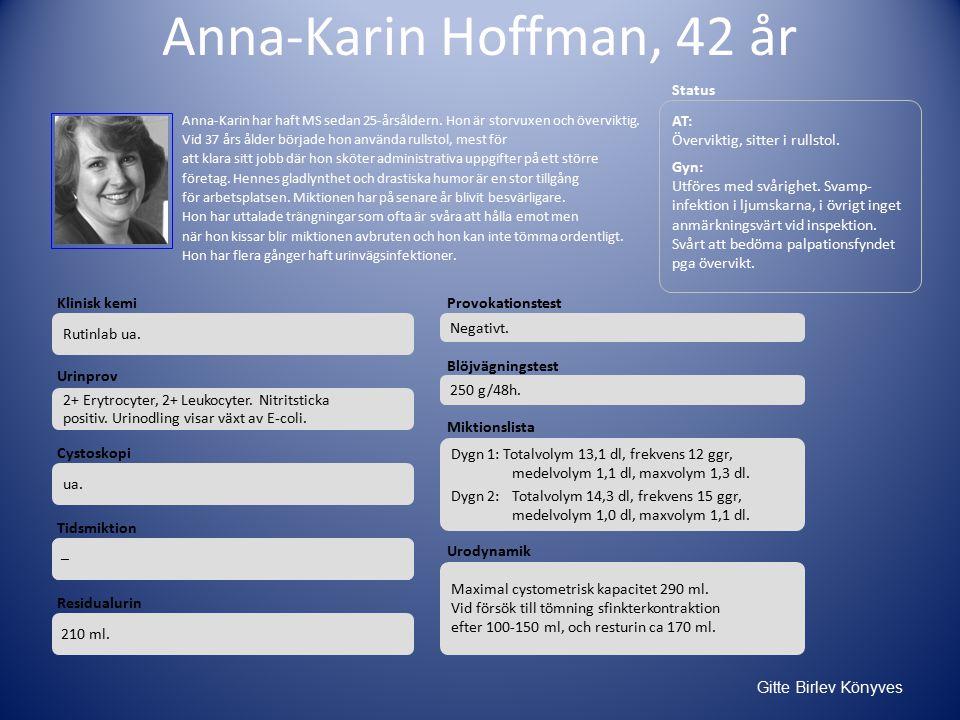 Gitte Birlev Könyves Anna-Karin Hoffman, 42 år AT: Överviktig, sitter i rullstol.