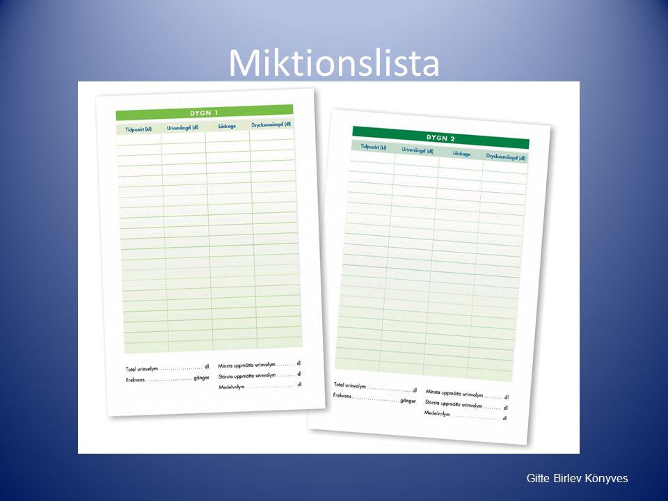 Gitte Birlev Könyves Miktionslista