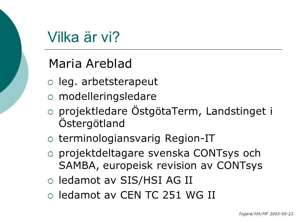 Vilka är vi?  leg. arbetsterapeut  modelleringsledare  projektledare ÖstgötaTerm, Landstinget i Östergötland  terminologiansvarig Region-IT  proj