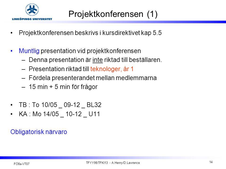 FÖ8a-VT07 TFYY98/TFKI13 - A.Henry/D.Lawrence 14 Projektkonferensen (1) Projektkonferensen beskrivs i kursdirektivet kap 5.5 Muntlig presentation vid p