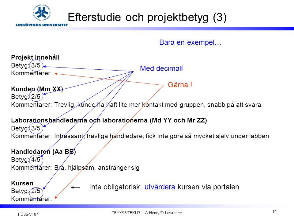 FÖ8a-VT07 TFYY98/TFKI13 - A.Henry/D.Lawrence 19 Efterstudie och projektbetyg (3) Projekt Innehåll Betyg: 3/5 Kommentarer: Kunden (Mm XX) Betyg: 2/5 Ko