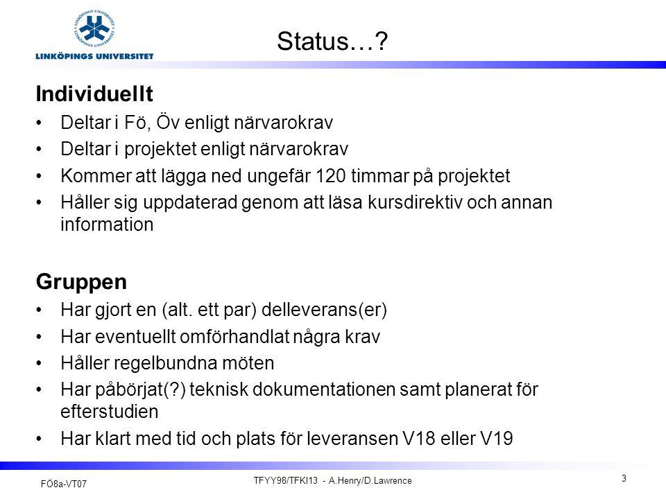 FÖ8a-VT07 TFYY98/TFKI13 - A.Henry/D.Lawrence 14 Projektkonferensen (1) Projektkonferensen beskrivs i kursdirektivet kap 5.5 Muntlig presentation vid projektkonferensen –Denna presentation är inte riktad till beställaren.