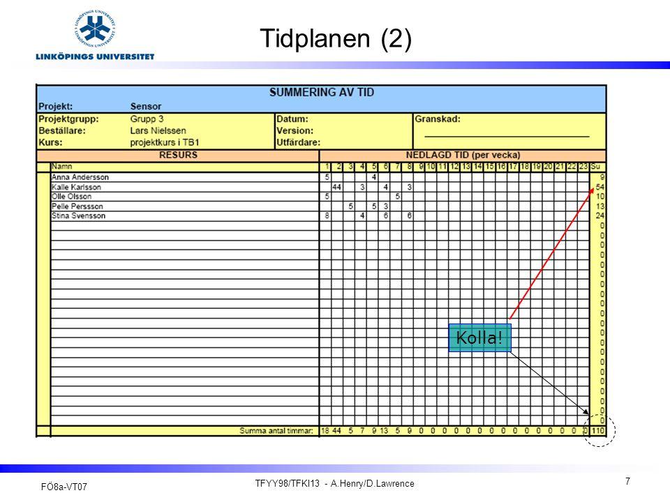FÖ8a-VT07 TFYY98/TFKI13 - A.Henry/D.Lawrence 18 Efterstudie och projektbetyg (2) En efterstudie samt ett projektbetyg och slutrapport (tekniska dokumentation) lämnas till kursansvarig via e-post innan projektkonferensen (TB: To 10/05 V19 och KA: Må 14/05 V20… Ev On 23/05 V21 ).