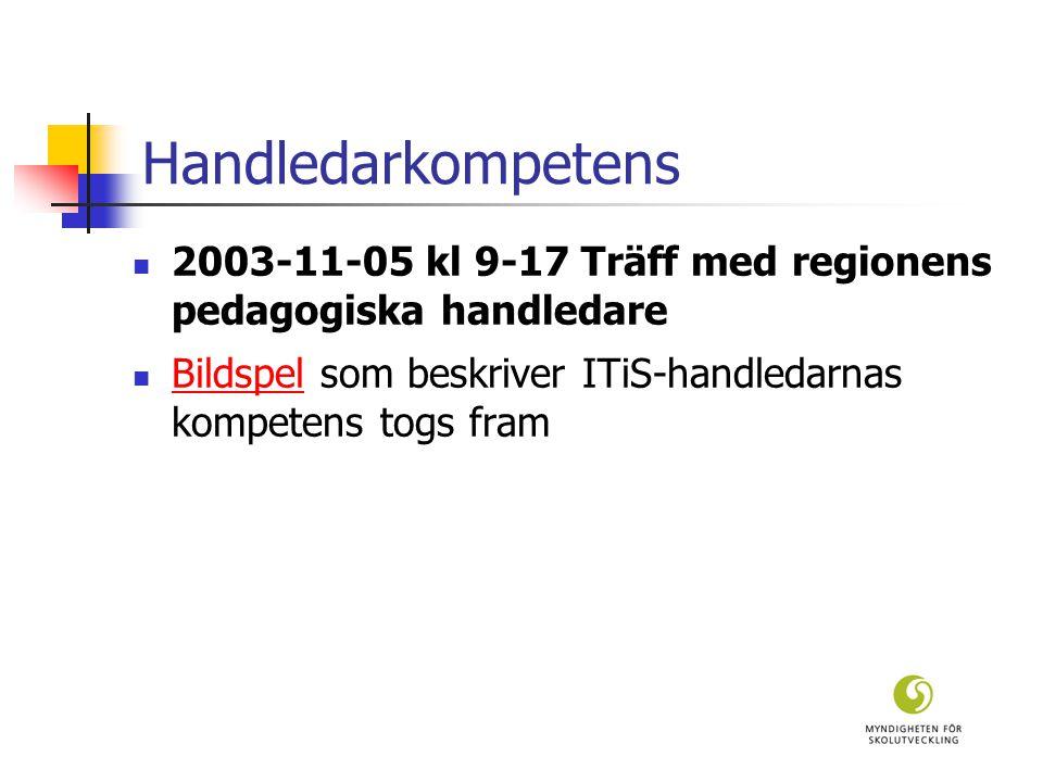 Handledarkompetens 2003-11-05 kl 9-17 Träff med regionens pedagogiska handledare Bildspel som beskriver ITiS-handledarnas kompetens togs fram Bildspel