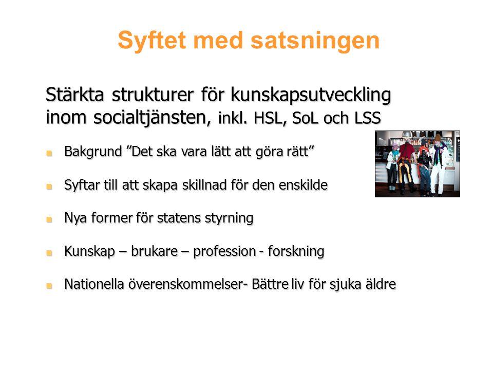 """Syftet med satsningen Stärkta strukturer för kunskapsutveckling inom socialtjänsten, inkl. HSL, SoL och LSS Bakgrund """"Det ska vara lätt att göra rätt"""""""