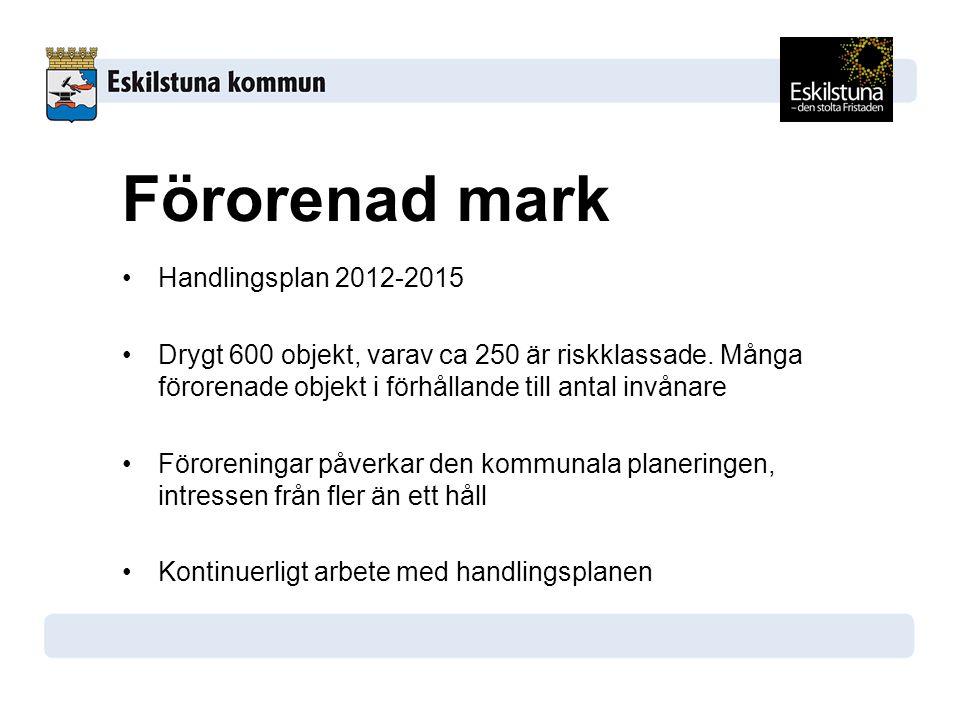 Handlingsplan 2012-2015 Drygt 600 objekt, varav ca 250 är riskklassade. Många förorenade objekt i förhållande till antal invånare Föroreningar påverka