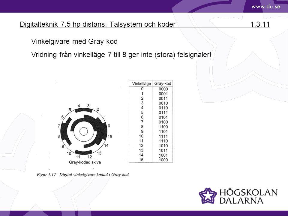 Digitalteknik 7.5 hp distans: Talsystem och koder1.3.11 Vinkelgivare med Gray-kod Vridning från vinkelläge 7 till 8 ger inte (stora) felsignaler!