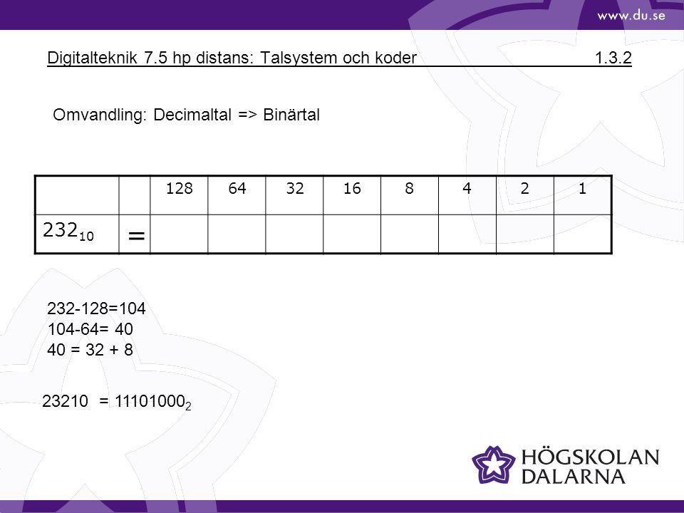 Digitalteknik 7.5 hp distans: Talsystem och koder1.3.2 1286432168421 232 10 = 232-128=104 104-64= 40 40 = 32 + 8 23210 = 11101000 2 Omvandling: Decima