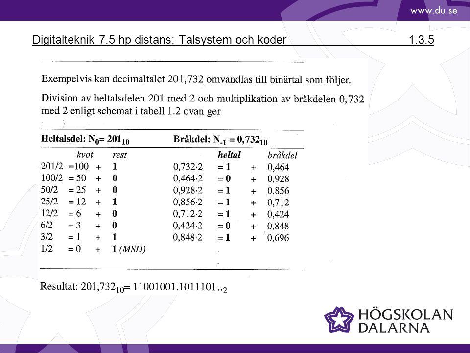 Digitalteknik 7.5 hp distans: Talsystem och koder1.3.5