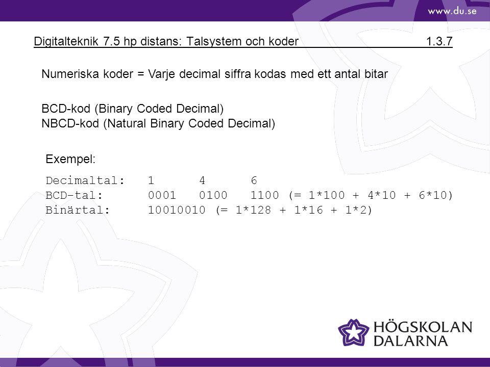 Digitalteknik 7.5 hp distans: Talsystem och koder1.3.7 Numeriska koder = Varje decimal siffra kodas med ett antal bitar BCD-kod (Binary Coded Decimal)