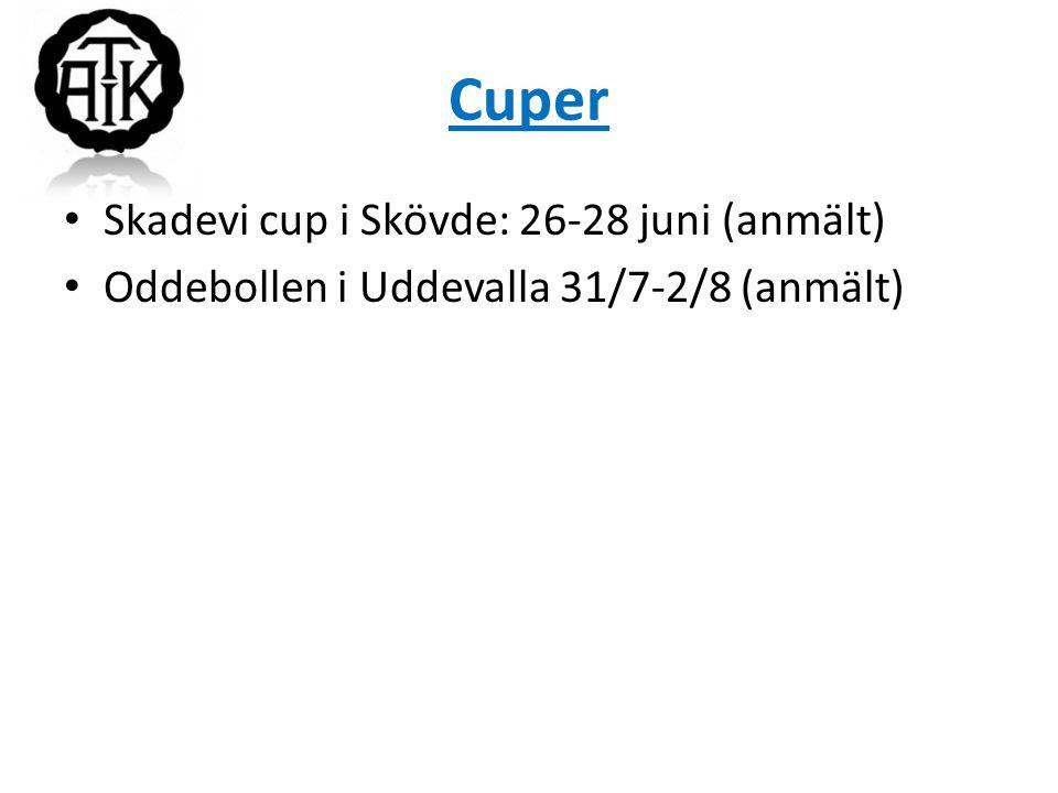 Cuper Skadevi cup i Skövde: 26-28 juni (anmält) Oddebollen i Uddevalla 31/7-2/8 (anmält)