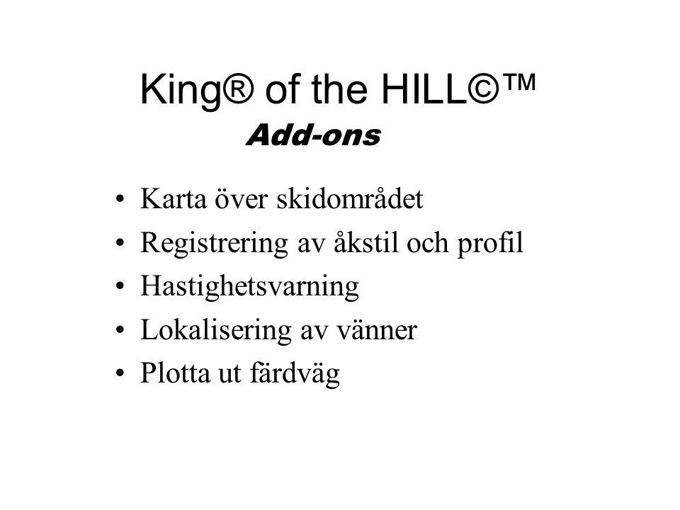 King® of the HILL©™ Karta över skidområdet Registrering av åkstil och profil Hastighetsvarning Lokalisering av vänner Plotta ut färdväg Add-ons