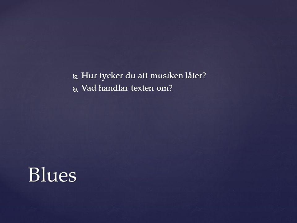  Hur tycker du att musiken låter?  Vad handlar texten om? Blues
