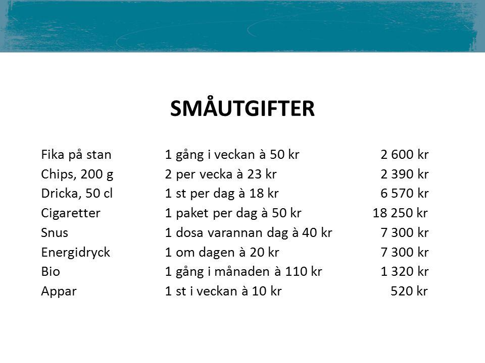 Fika på stan 1 gång i veckan à 50 kr2 600 kr Chips, 200 g 2 per vecka à 23 kr 2 390 kr Dricka, 50 cl 1 st per dag à 18 kr6 570 kr Cigaretter 1 paket per dag à 50 kr 18 250 kr Snus 1 dosa varannan dag à 40 kr7 300 kr Energidryck 1 om dagen à 20 kr7 300 kr Bio 1 gång i månaden à 110 kr1 320 kr Appar 1 st i veckan à 10 kr 520 kr SMÅUTGIFTER