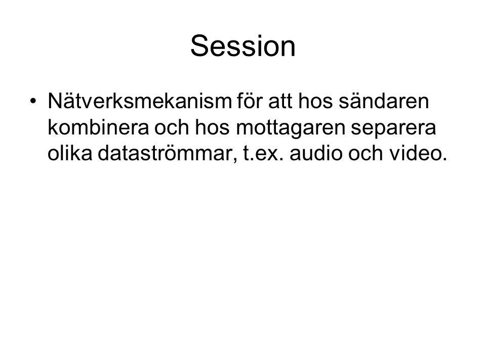 Session Nätverksmekanism för att hos sändaren kombinera och hos mottagaren separera olika dataströmmar, t.ex.