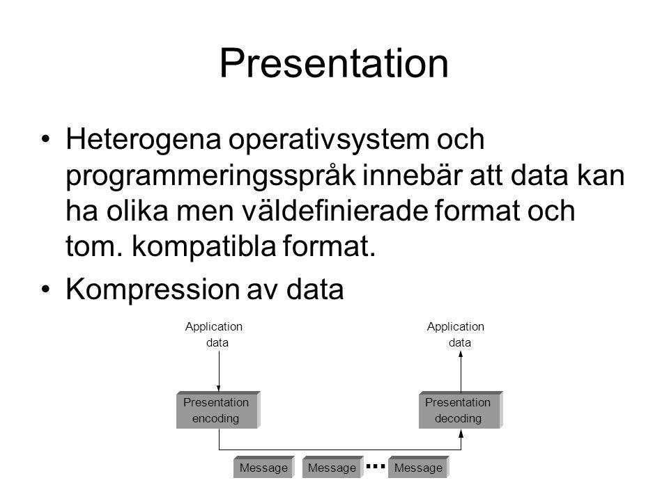 Presentation Heterogena operativsystem och programmeringsspråk innebär att data kan ha olika men väldefinierade format och tom. kompatibla format. Kom