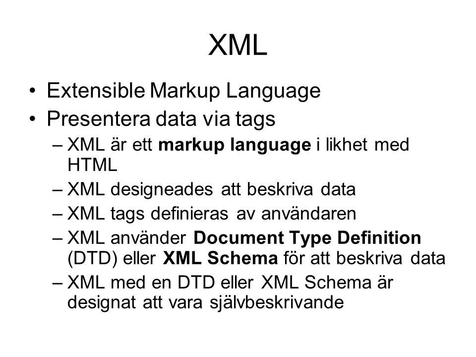 XML Extensible Markup Language Presentera data via tags –XML är ett markup language i likhet med HTML –XML designeades att beskriva data –XML tags def