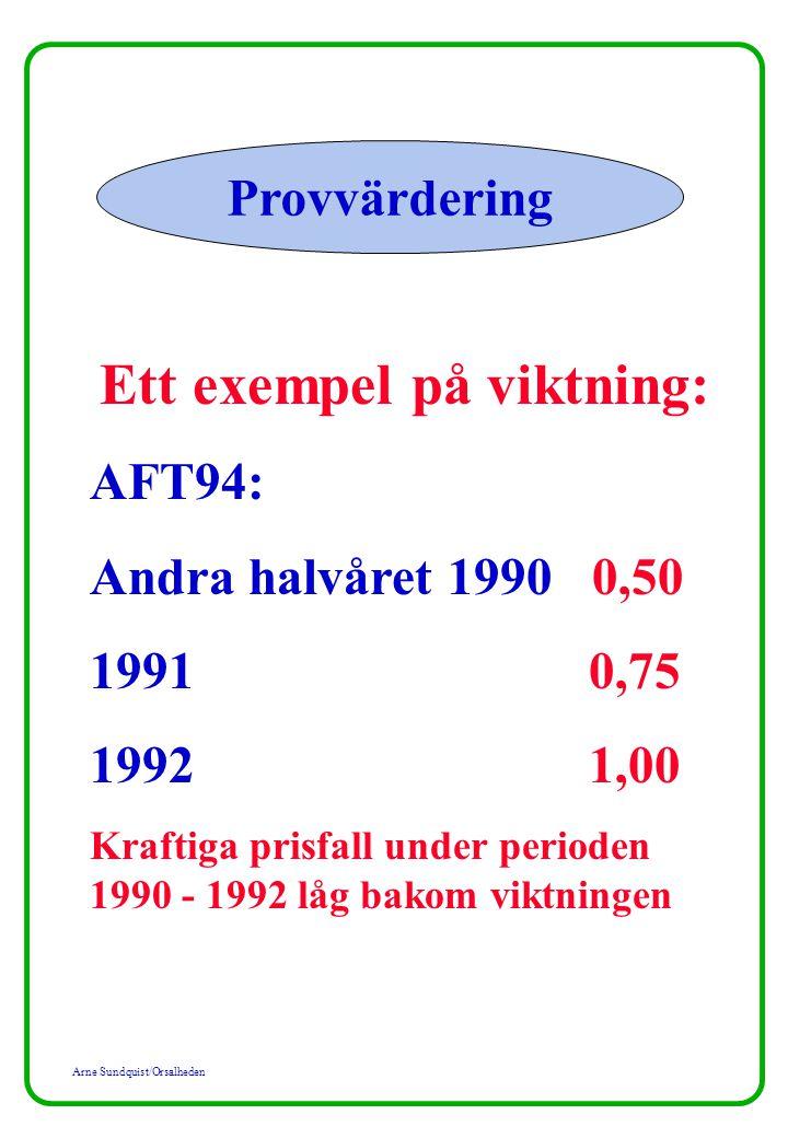 Arne Sundquist/Orsalheden Provvärdering Ett exempel på viktning: AFT94: Andra halvåret 1990 0,50 1991 0,75 1992 1,00 Kraftiga prisfall under perioden 1990 - 1992 låg bakom viktningen