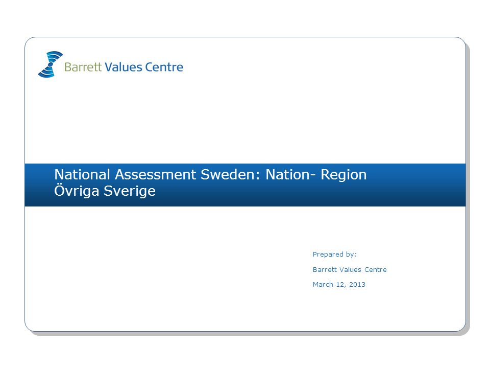 National Assessment Sweden: Nation- Region Övriga Sverige (393) arbetslöshet (L) 2411(O) byråkrati (L) 1873(O) osäkerhet om framtiden (L) 1711(I) yttrandefrihet 1474(O) resursslöseri (L) 1433(O) fred 1317(S) skyller på varandra (L) 1292(R) materialistiskt (L) 1281(I) kortsiktighet (L) 1171(O) våld och brott (L) 1141(R) arbetstillfällen 2431(O) ekonomisk stabilitet 1851(I) ansvar för kommande generationer 1617(S) välfungerande sjukvård 1371(O) bevarande av naturen 1286(S) omsorg om de äldre 1144(S) demokratiska processer 1124(R) långsiktighet 947(S) miljömedvetenhet 916(S) jämlikhet 894(R) Values PlotMarch 12, 2013 Copyright 2013 Barrett Values Centre I = Individuell R = Relationsvärdering Understruket med svart = PV & CC Orange = PV, CC & DC Orange = CC & DC Blå = PV & DC P = Positiv L = Möjligtvis begränsande (vit cirkel) O = Organisationsvärdering S = Samhällsvärdering Värderingar som matchar PV - CC 0 CC - DC 0 PV - DC 1 Hälsoindex (PL) PV-10-0 CC - 2-8 DC-10-0 humor/ glädje 1865(I) familj 1852(R) ansvar 1594(I) ärlighet 1555(I) tar ansvar 1274(R) positiv attityd 1215(I) rättvisa 1175(R) medkänsla 1157(R) ekonomisk stabilitet 1001(I) anpassningsbarhet 954(I) NivåPersonliga värderingar (PV)Nuvarande kulturella värderingar (CC)Önskade kulturella värderingar (DC) 7 6 5 4 3 2 1 IRS (P)=6-4-0 IRS (L)=0-0-0IROS (P)=0-0-1-1 IROS (L)=2-2-4-0IROS (P)=1-2-2-5 IROS (L)=0-0-0-0