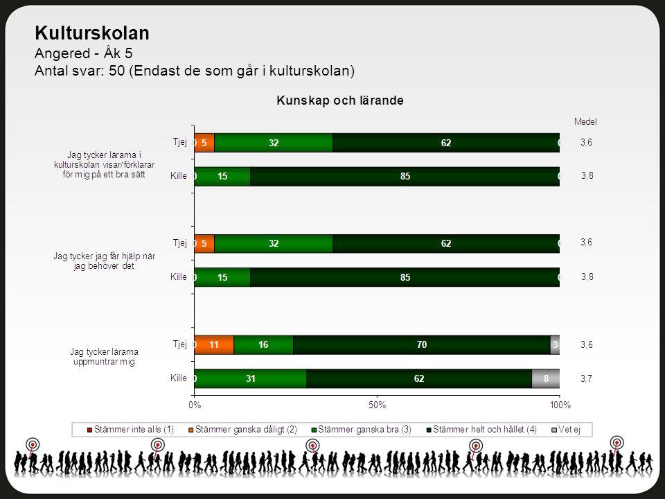 Kulturskolan Angered - Åk 5 Antal svar: 50 (Endast de som går i kulturskolan)