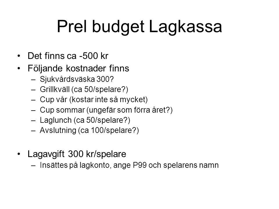 Prel budget Lagkassa Det finns ca -500 kr Följande kostnader finns –Sjukvårdsväska 300.