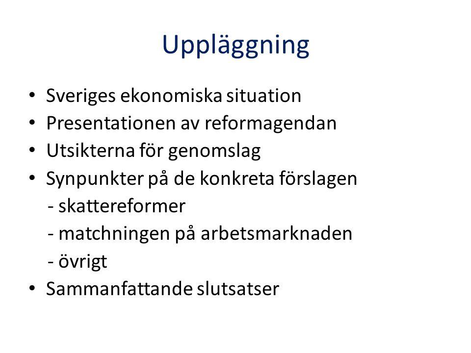 Uppläggning Sveriges ekonomiska situation Presentationen av reformagendan Utsikterna för genomslag Synpunkter på de konkreta förslagen - skattereformer - matchningen på arbetsmarknaden - övrigt Sammanfattande slutsatser