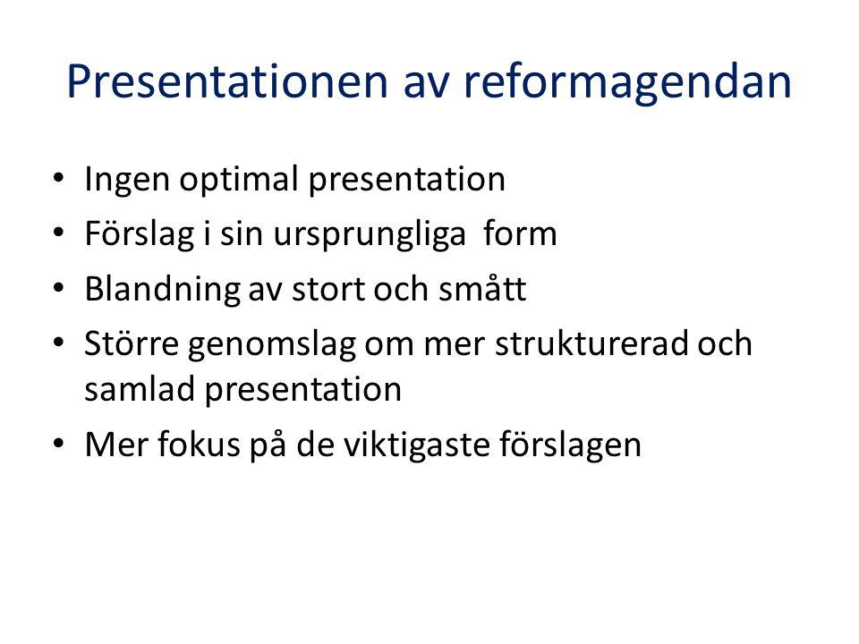 Presentationen av reformagendan Ingen optimal presentation Förslag i sin ursprungliga form Blandning av stort och smått Större genomslag om mer strukturerad och samlad presentation Mer fokus på de viktigaste förslagen