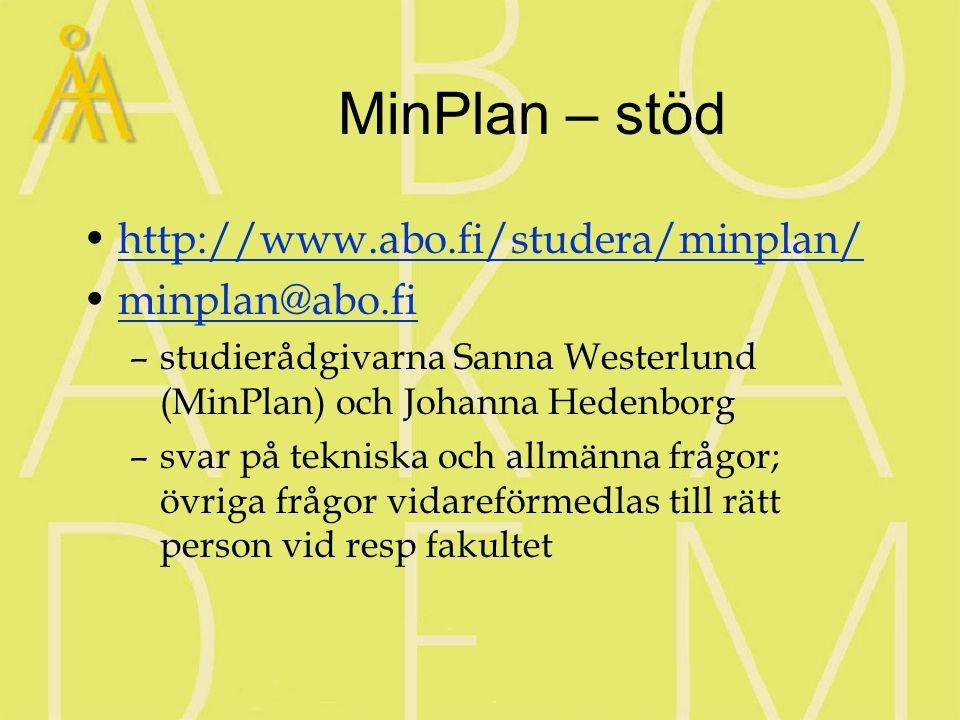 MinPlan – stöd http://www.abo.fi/studera/minplan/ minplan@abo.fi –studierådgivarna Sanna Westerlund (MinPlan) och Johanna Hedenborg –svar på tekniska och allmänna frågor; övriga frågor vidareförmedlas till rätt person vid resp fakultet
