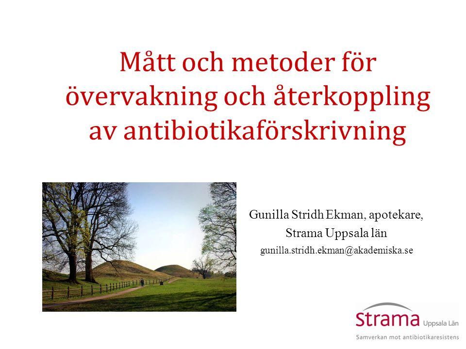Mått och metoder för övervakning och återkoppling av antibiotikaförskrivning Gunilla Stridh Ekman, apotekare, Strama Uppsala län gunilla.stridh.ekman@akademiska.se