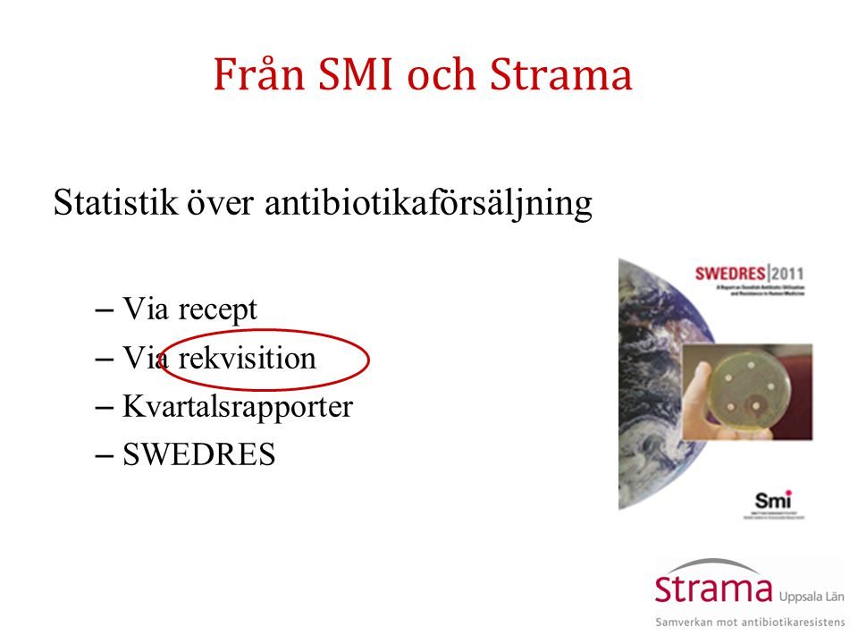 Från SMI och Strama Statistik över antibiotikaförsäljning – Via recept – Via rekvisition – Kvartalsrapporter – SWEDRES